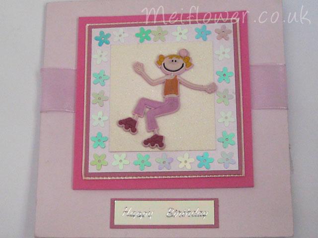 Funky Roller Skate Girl Card