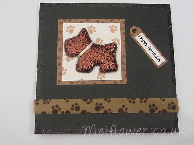Sequin Glitter Dog Card Sample