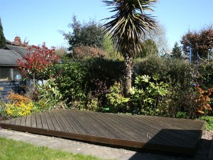 Landscaped back garden with decking