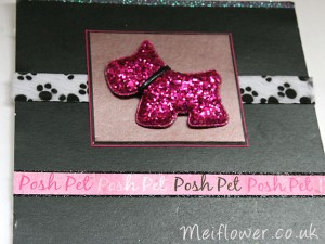 Pink Fabric Dog With Matching Furry Paw Print Ribbon