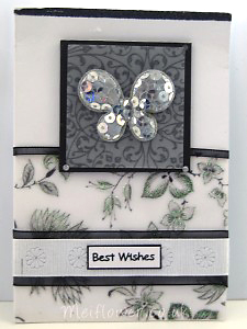 Birthday card using a silver covered sequin butterfly