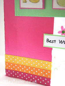 Polka dot ribbon used for card making