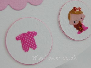 Baby card with cute self adhesive epoxy baby stickers