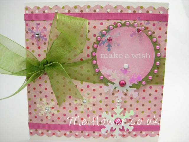 Pink and green themed Christmas card
