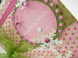Contemporary Christmas card in sage green and pink theme