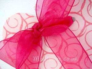 Pink heart used for wedding invitation