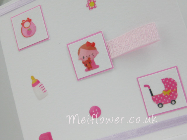 Fun epoxy stickers used on a baby card