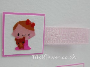 Baby girl card with cute gel baby themed stickers