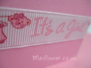 'It's a Girl' patterned grosgrain ribbon used for handmade card