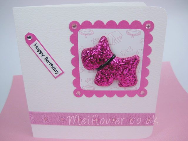Cerise coloured fabric glitter embellishment dog