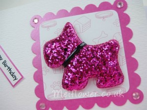 Glitzy padded scottie dog used on handmade dog greeting card