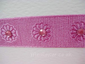 Embossed grosgrain patterned ribbon used for dog birthday card.