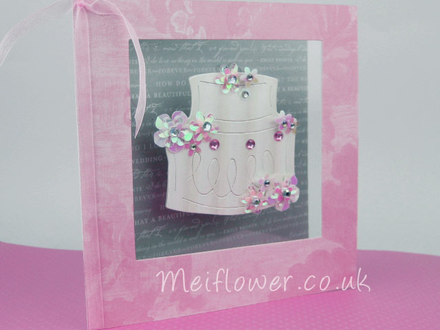 Wedding card in pink and grey theme