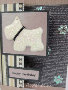 Sparkly dog used for a birthday card