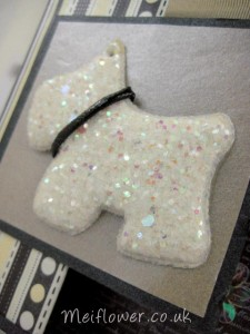 Fabric glitter dog with matching faux leather collar