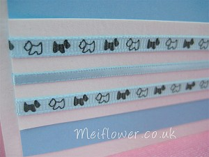 Birthday card using blue and grey patterned grosgrain ribbon