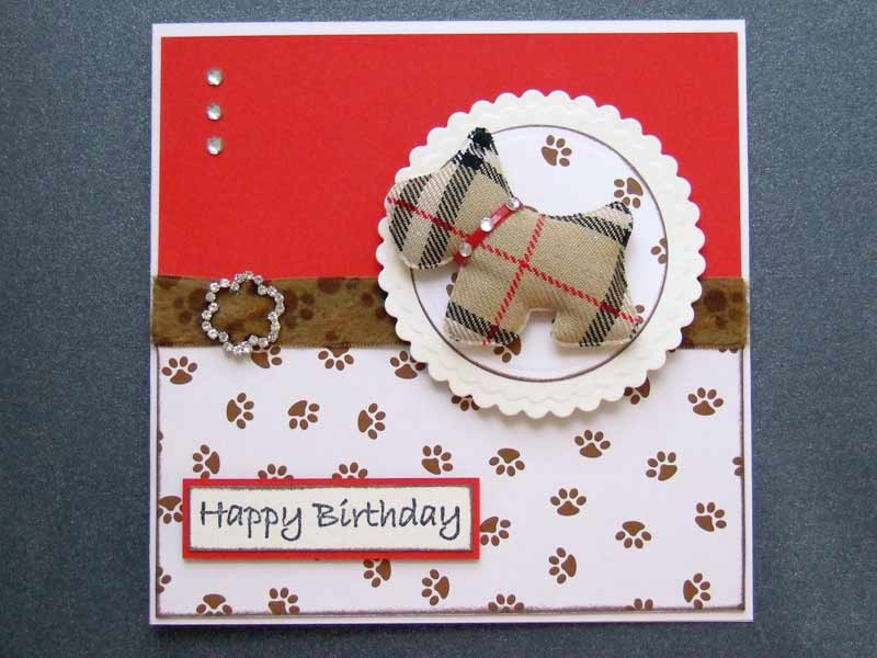 Brown fabric dog applique used for dog lovers Birthday card