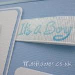 Handmade baby card using patterned grosgrain ribbon
