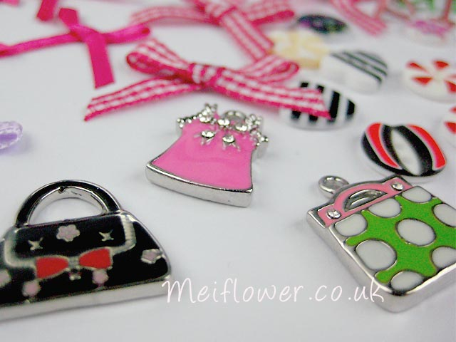 silver stone metal charms