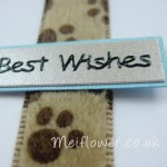 Light brown, cyan and black colour scheme pet card