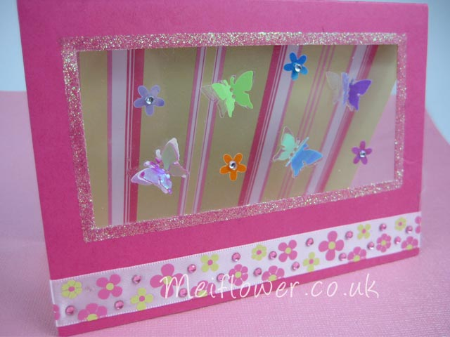 Pink, green, white colour themed general greeting card