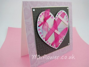 Handmade card in silver, cerise, black and lilac