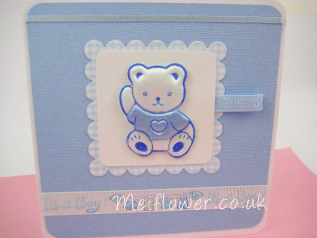 Baby blue teddy for baby boy congratulations card