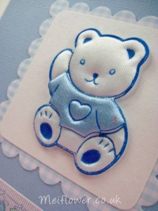 Fabric teddy applique used for card making