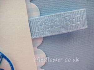 Baby embossed grosgrain ribbon for baby arrival card