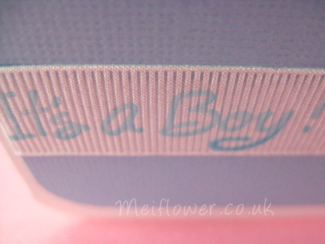 Patterend ribbon used for a baby card