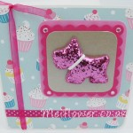 Birthday card in pink,blue designer theme