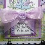 Beautiful handmade birthday card in lilac and soft green colour combinations