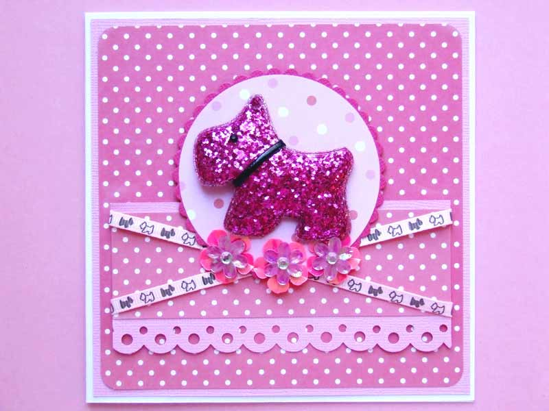 Pink and white dog lovers general greeting card