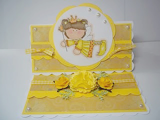 Yellow themed card embellished with yellow gingham ribbon