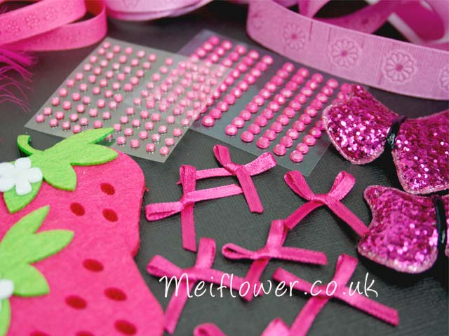Yummy gems, cerise bows, strawberry embellishments