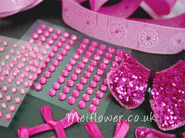 Gorgeous self adhesive barbie pink gems