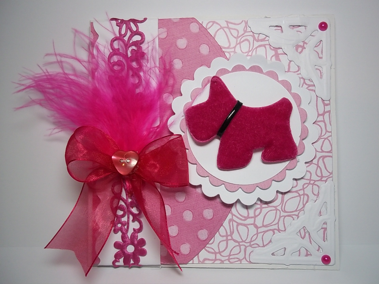 Tracey's colour challenge cerise card