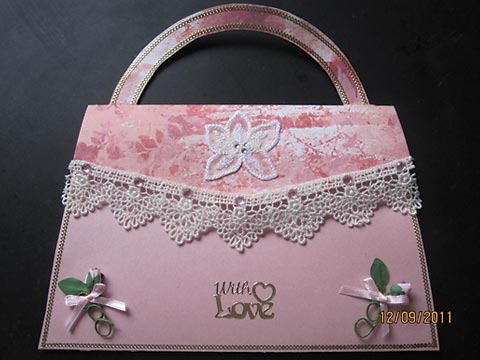 Handbag shaped card from Maryann Laursen