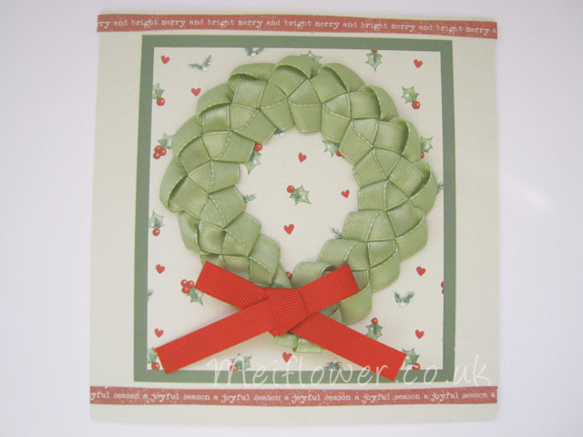 Christmas Card using Sage Green Ribbon