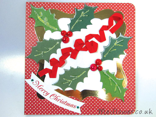 Holly and Red Berry Christmas Card using Red Pearls