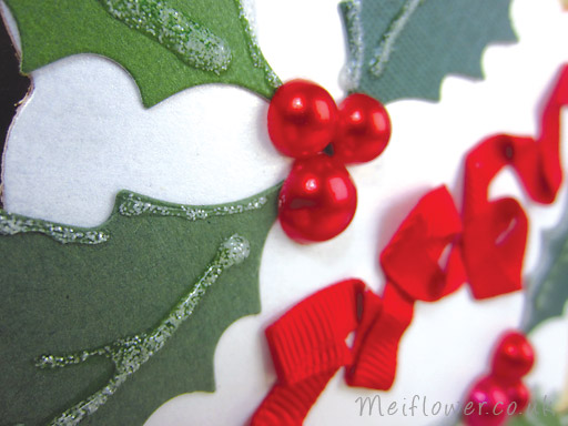 Close up of the Red Pearls used for the Holly Berries