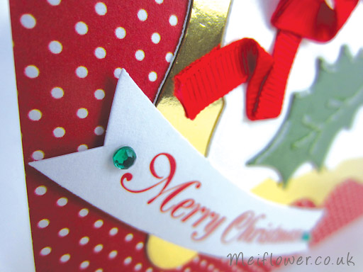 Green Self Adhesive Gems to finish off Christmas Card