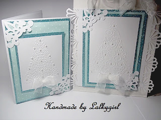 Embossed Christmas card and gift bag