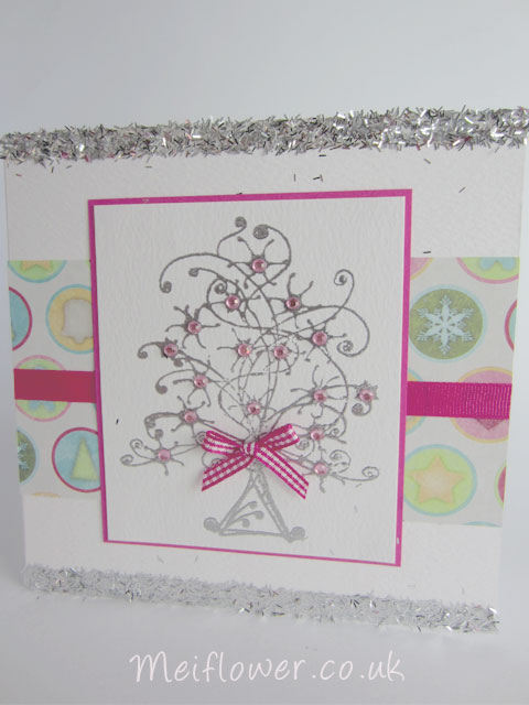 Christmas tree stamp embossed with silver embossing powder