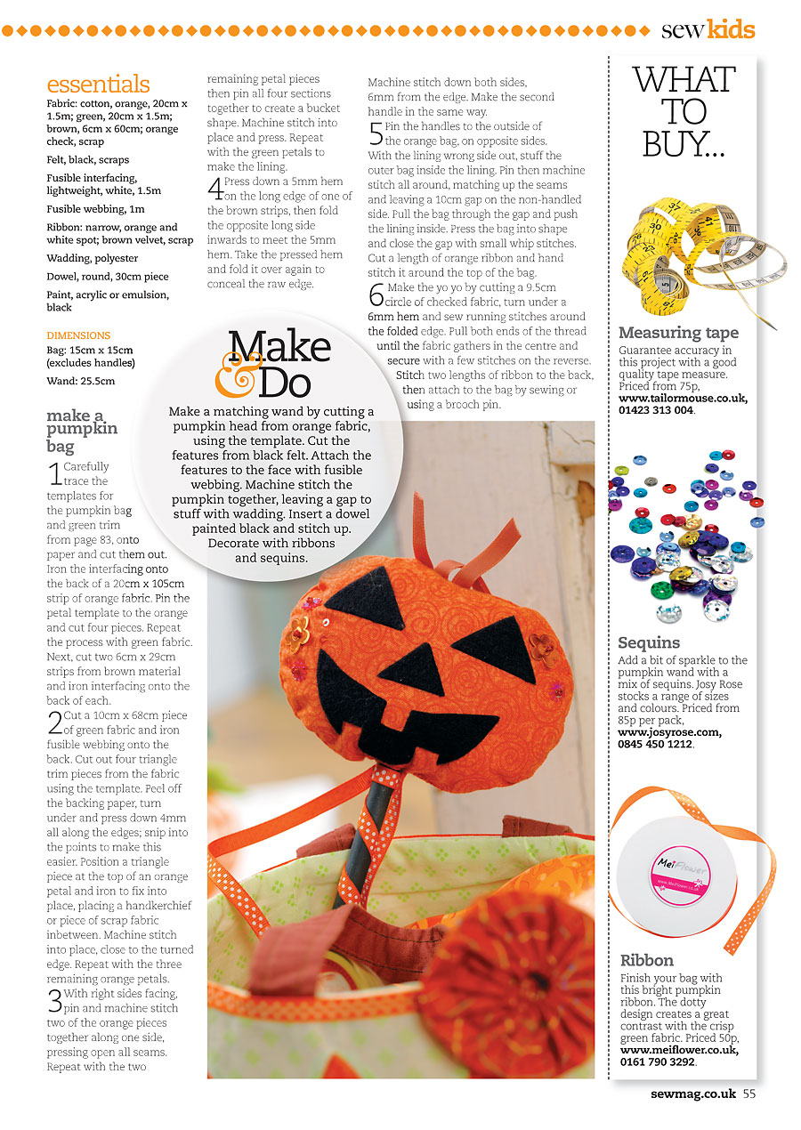 Orange polka dot ribbon in Sew Magazine