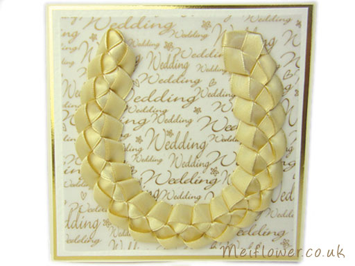 wedding card made using honey gold ribbon